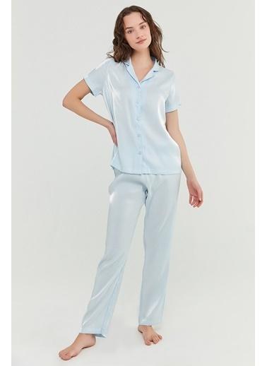 Penti Açık Mavi Sky Satin Gömlek Pantolon Takımı Mavi